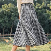 茵曼格子半身裙女士中长款棉麻2021年春季新款百搭复古拼接摆a字