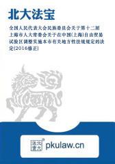 上海市人大常委会关于在中国(上海)自由贸易试验区调整实施本市有关地方性法规规定的决定(2016修正)