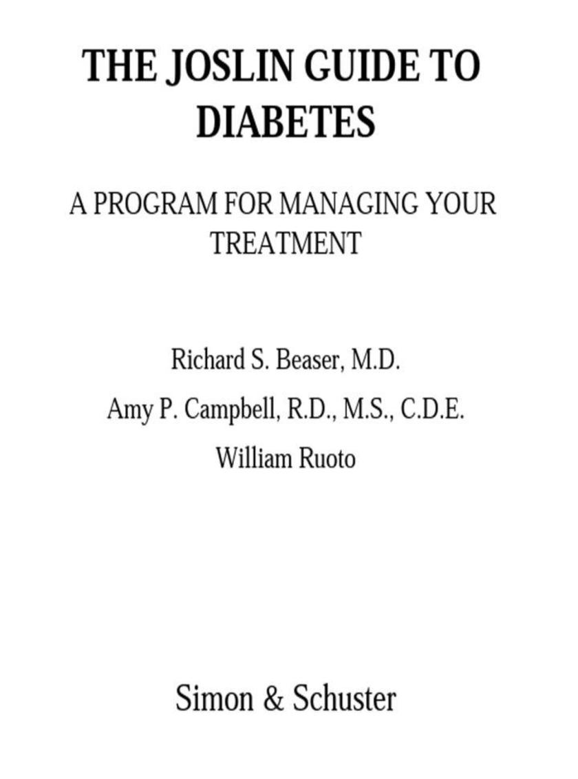 The Joslin Guide to Diabetes